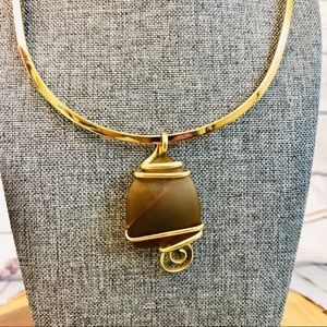 Brown sea glass pendant with gold wire wrap NEW
